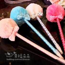 婚禮小物甜美毛球筆原子筆-韓國文具.二次進場.藍筆.贈品畢業禮物.活動獎品.幸福朵朵