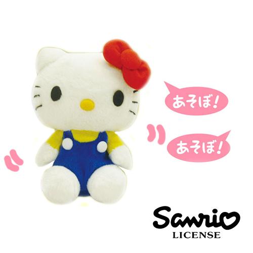 【日本進口三麗鷗正版】 Hello Kitty 吊帶褲藍色款 學人精 錄音說話娃娃 仿聲公仔 凱蒂貓 - 001145