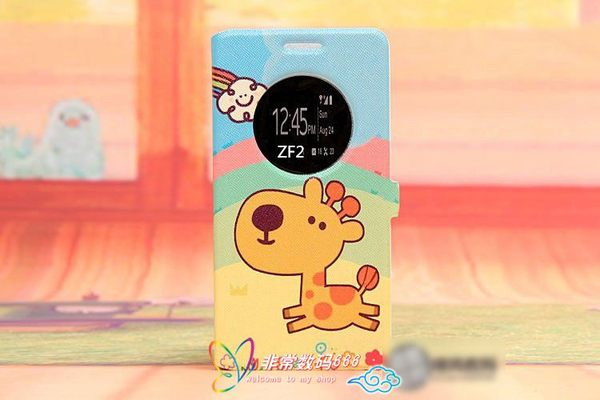 King*Shop~韓國彩繪開窗華碩zenfone 2支架手機套ZE500CL華碩2 5.0寸視窗皮套