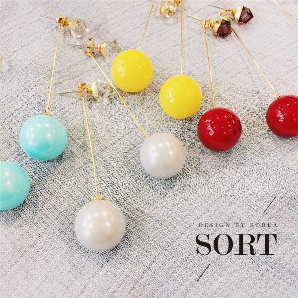 「預購」耳環 韓國馬卡龍色系糖果色方塊水晶後掛式耳環【1DDE0792】