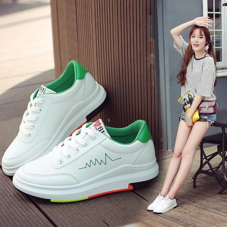 小白鞋女厚底增高學生皮面白色板鞋學生鞋