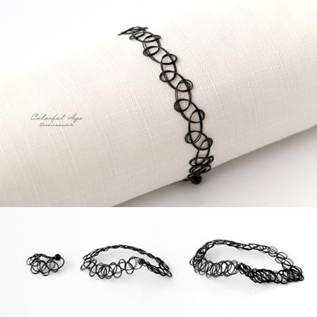 歐美/日系仿刺青紋身魚線頸圈 戒指 手環三件組合 彈性伸縮 黑色好搭 柒彩年代【NB703】一組價格
