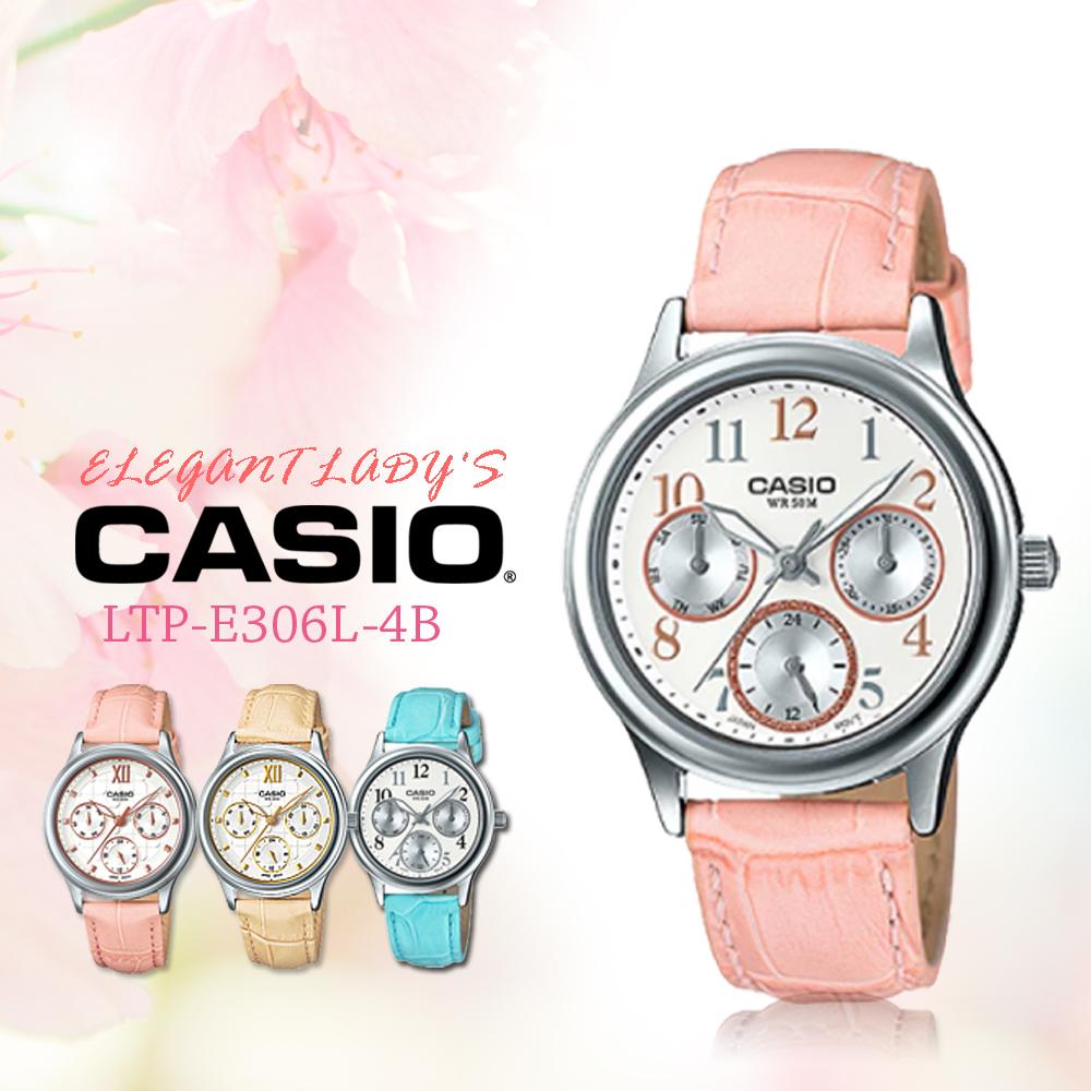 CASIO手錶專賣店CASIO手錶LTP-E306L-4B三眼皮革帶女錶防水