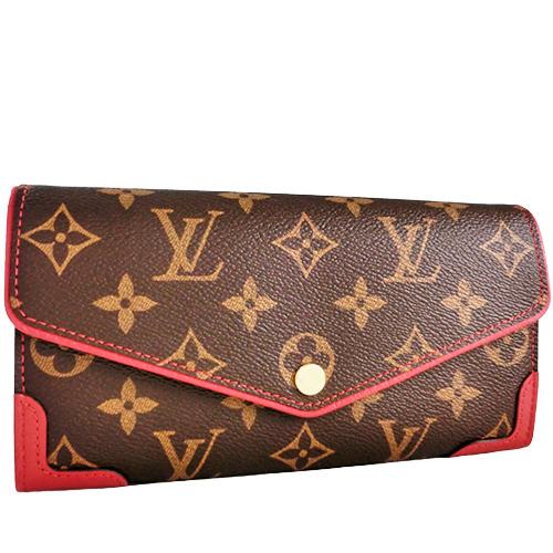 茱麗葉精品全新精品Louis Vuitton LV M61184 Sarah經典花紋發財包扣式長夾.紅預購