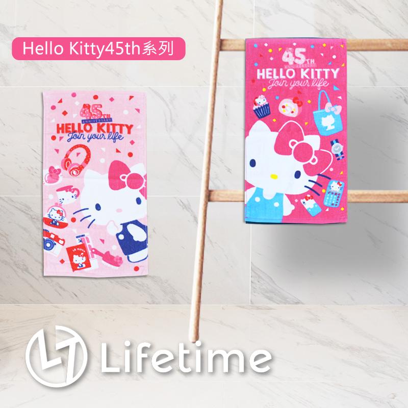 ﹝Kitty45週年童巾﹞正版擦手巾 小毛巾 Kitty 45週年 凱蒂貓〖LifeTime一生流行館〗B21082