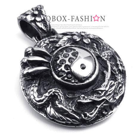 《 QBOX 》FASHION 飾品【W10022353】精緻個性圓盤太極龍鑄造316L鈦鋼墬子項鍊