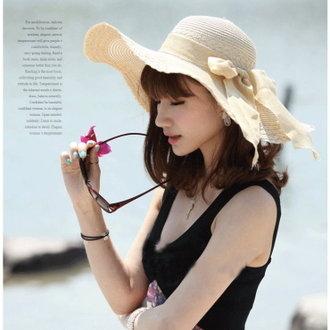防紫外線韓版沙灘帽大沿帽夏天蝴蝶結圓頂遮陽帽大簷草帽可折疊