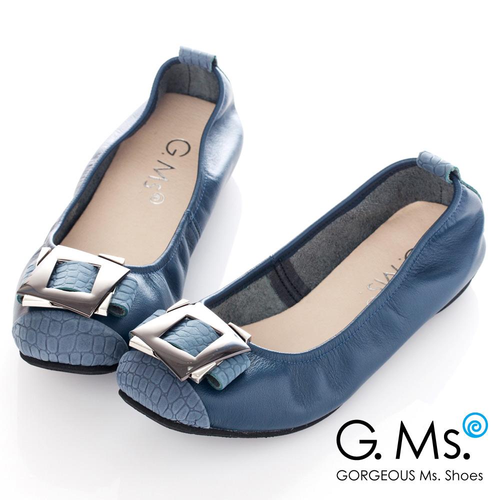 G.Ms*MIT系列-拼接鱷魚紋金屬飾釦牛皮娃娃鞋*奢華藍