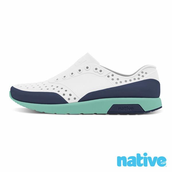 native LENNOX BLOCK CHILD小雷諾小童鞋晴雨鞋玩水鞋-霧灰x海軍藍x湖水綠8443