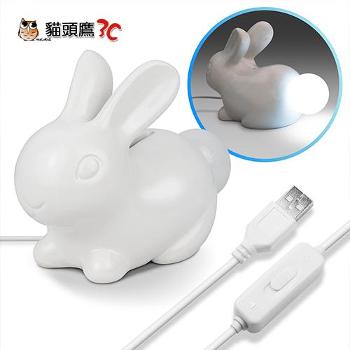 貓頭鷹3C療癒系USB小白兔造型存錢筒LED夜燈恆亮聲響感應USB-69