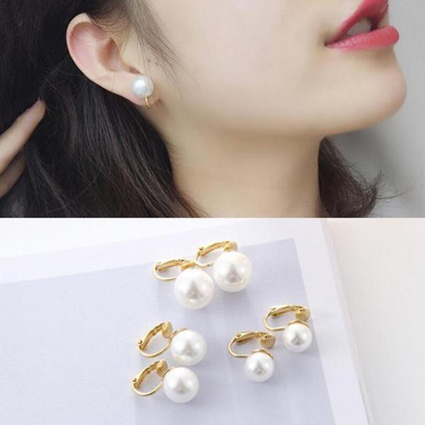 歐美飾品時髦圓潤仿珍珠金色無耳洞耳夾耳扣耳環女