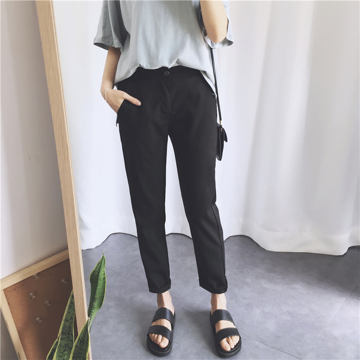 [協貿國際]黑色顯瘦直筒褲 寬松薄款黑色西裝褲1入