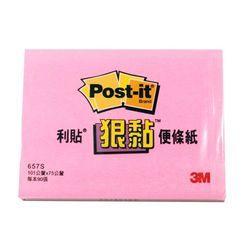 《☆享亮商城☆》657S-5 粉紅 狠黏橫條可再貼便條紙  3M