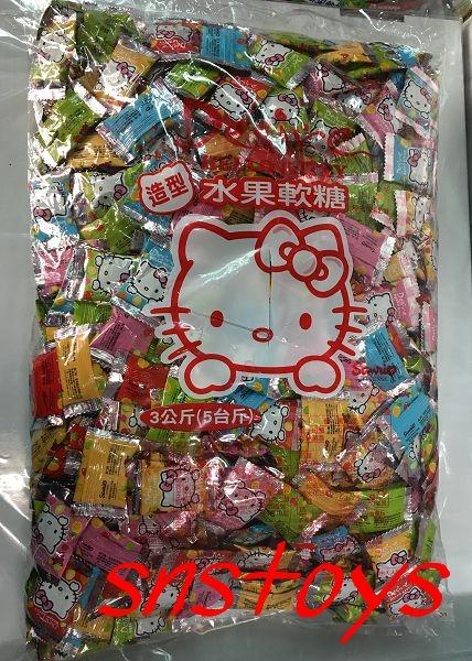 sns古早味乖乖Kitty造型水果軟糖果汁QQ軟糖水果QQ糖3000公克約600顆聖誕QQ糖聖誕糖果