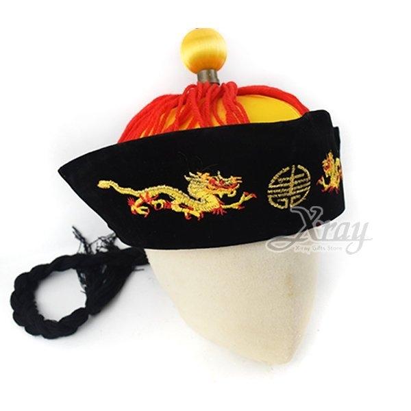 節慶王Z010003皇帝辮子帽萬聖節清朝宮廷過年表演造型甄環傳派對道具春酒尾牙格格