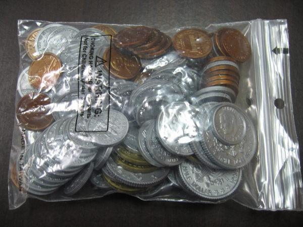 【台灣製USL遊思樂】錢幣 / 代幣 / 綜合美金硬幣模型(98pcs) / 袋