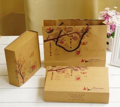 鳥語花香 4粒6粒裝63-80g牛皮月餅盒 復古牛皮紙 月餅盒蛋黃酥包裝盒高檔禮盒餅乾盒子 包裝盒