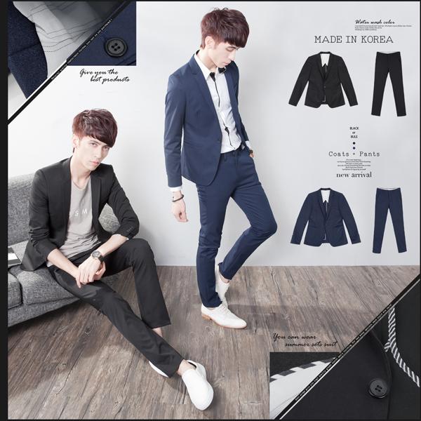 SW免運正韓韓國製修身顯瘦質感彈性佳平滑西裝布窄版輕素面成套西裝K31156