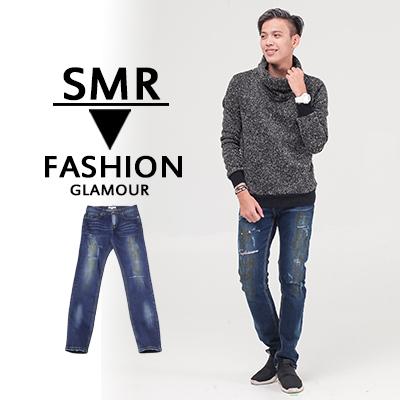 暈染割破牛仔褲-簡單舒適休閒質感999515102藍色現貨預購SMR