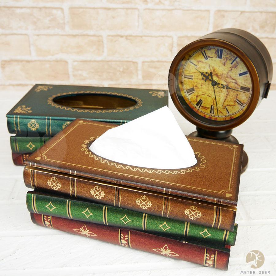 面紙盒木質製衛生紙盒抽取式復古書本造型雜物桌面收納居家店面擺飾拍攝道具-米鹿家居