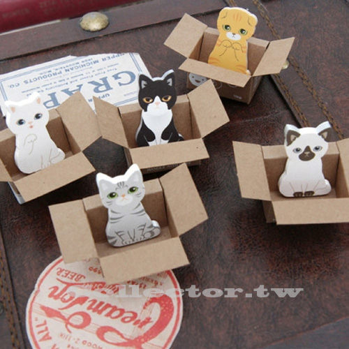 【L14112501】韓版可愛紙箱貓咪便利貼 喵星人求包養N次貼 便條貼 便簽貼