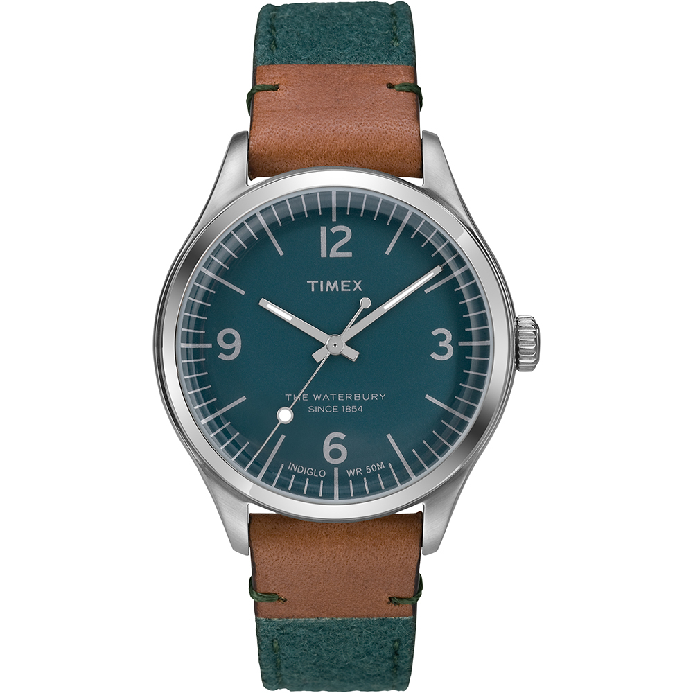 【TIMEX】天美時 Waterbury系列城市風尚手錶(綠面/咖啡 TXT2P95700)