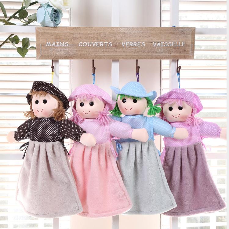 珊瑚絨娃娃擦手巾掛式擦手巾四色庫奇小舖