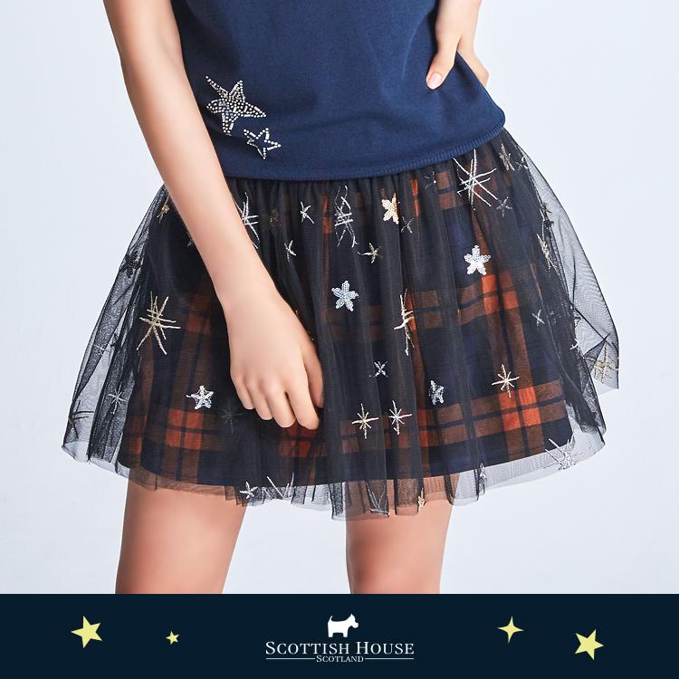 星星網紗格紋裙 Scottish House【AJ2118】