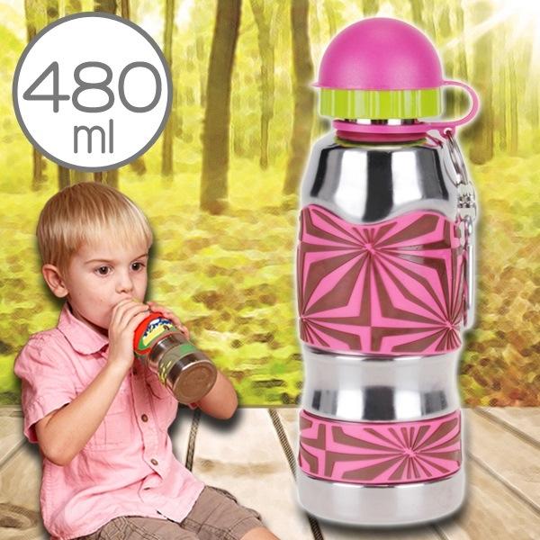 美國i.d.gear兒童水壺不鏽鋼幼童水瓶水杯-紅斑幾何480CC B-2MST002