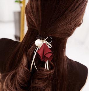 TwinS伯澄垂掉喇叭花珍珠髮圈韓版絲帶布藝髮束頭飾