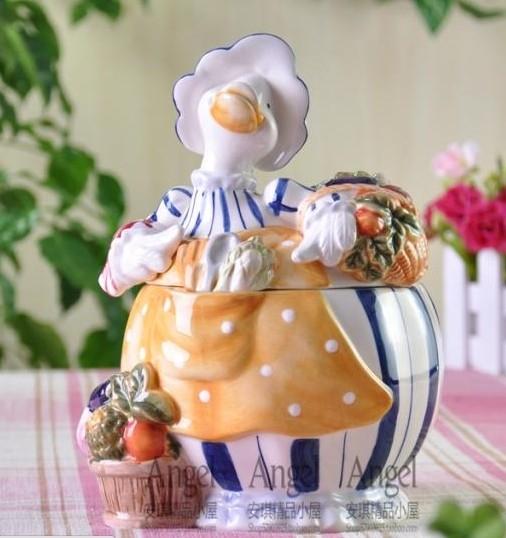 協貿國際結婚禮品田園鄉村鴨子陶瓷糖果罐