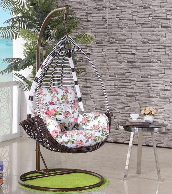 南洋風休閒傢俱戶外鞦韆系列-粗藤吊籃戶外休閒搖椅單人仿藤鞦韆