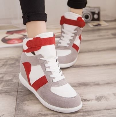 內增高球鞋丁果女鞋韓版熱賣拼色短筒內增高休閒鞋