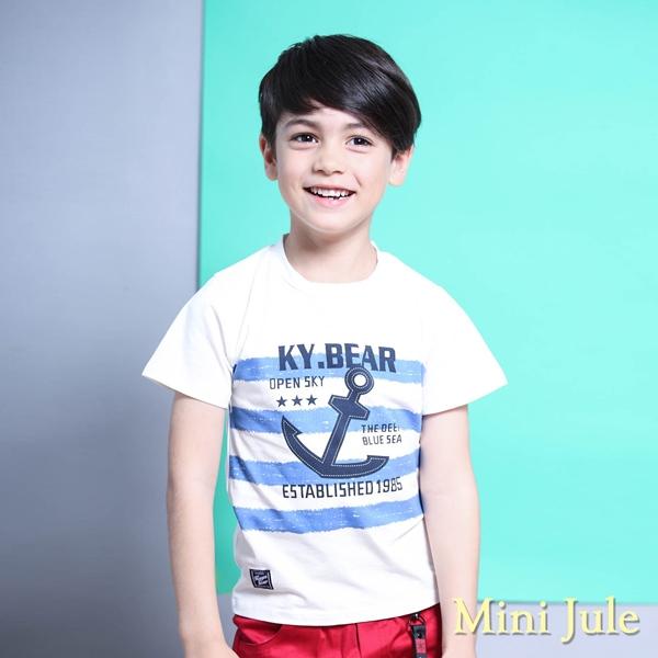 Mini Jule 男童 上衣 船錨字母橫條紋短袖T恤(白)