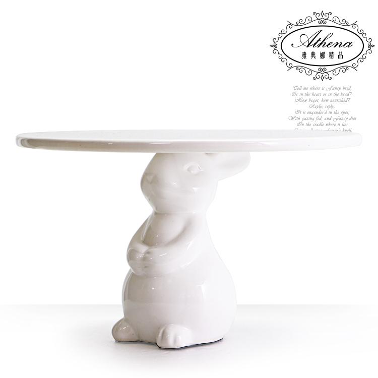 雅典娜家飾立體兔子6吋蛋糕盤架-HE27