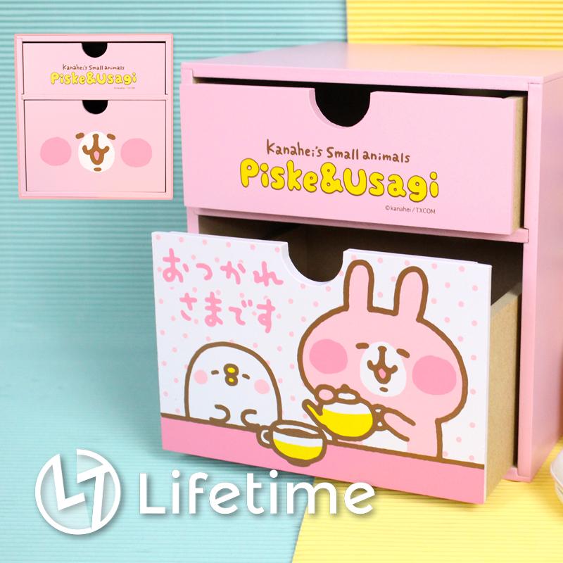 ﹝卡娜赫拉方型二抽盒﹞正版二層書櫃 收納櫃 置物盒 收納盒 兔兔 P助〖LifeTime一生流行館〗B01338