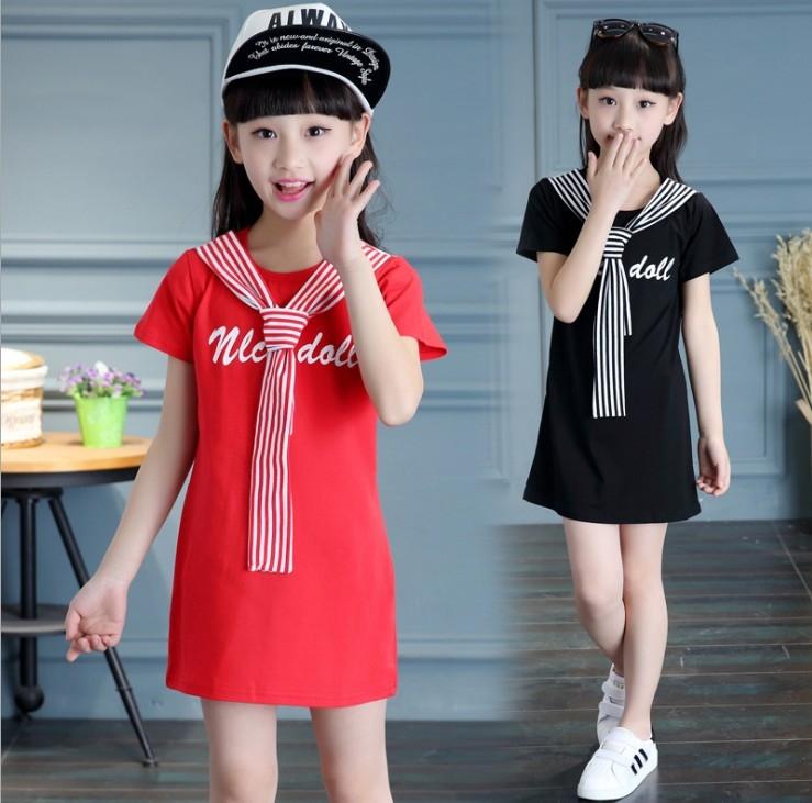 衣童趣韓版夏季中大女童水手服長版上衣甜美休閒可當洋裝暢銷熱賣款