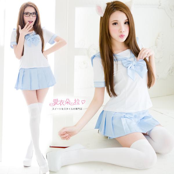 水手服 學生裝 學生制服 XL中大尺碼角色扮演服飾 水藍色女學生服- 愛衣朵拉