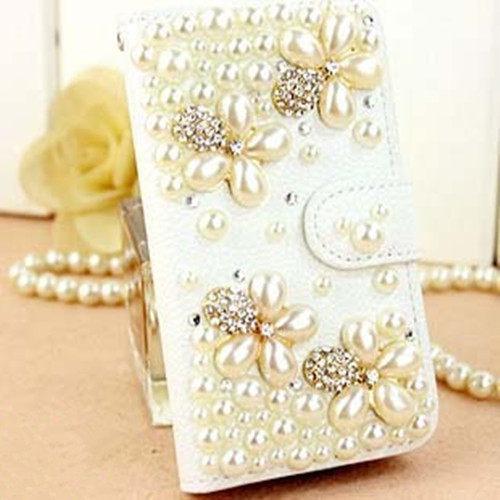 俏魔女美人館HTC ONE E8珍珠花皮套水鑽保護殼翻蓋套貼鑽手機套保護殼保護套