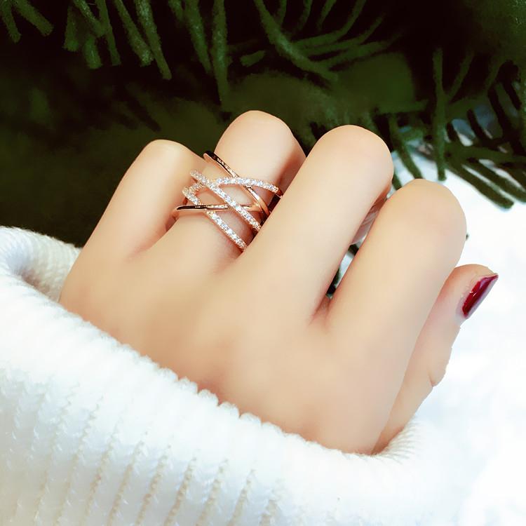 个性戒指歐美夸張個性戒指指環交叉多層關節戒尾戒食指戒指大頑家