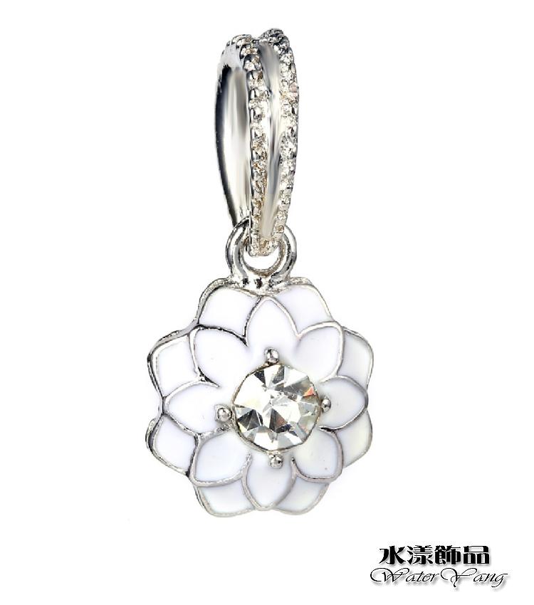 白色鑽蕊菊花 時尚鑲鑽DIY墜子  DIY串珠配件