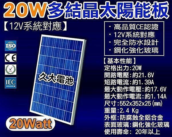 ✚久大電池❚ 太陽能 12V 20W 多結晶 太陽能板 CE ISO ROHS IEC 國際認證 (超高品質.節電省錢)