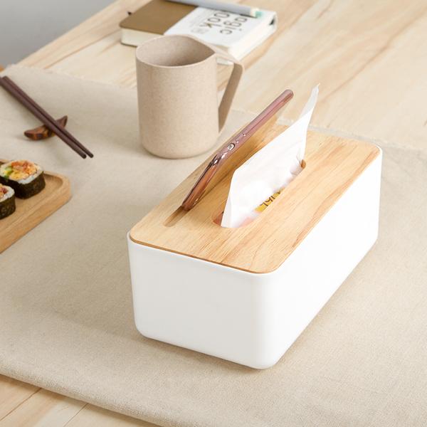 簡約橡木蓋手機架面紙盒抽取式面紙餐巾紙衛生紙盒收納置物居家iphone RS617