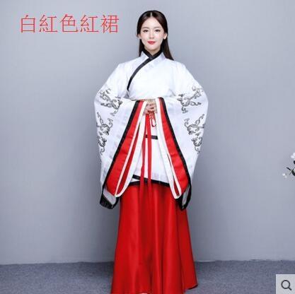 熊孩子漢服女2017新款改良古裝襦裙主圖款4白紅色紅裙