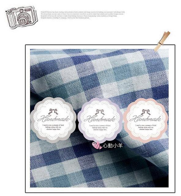 心動小羊韓國蝴蝶結粉色紫色3種9枚手工皂貼紙布丁貼紙烘焙袋定制封口貼熱賣款9入