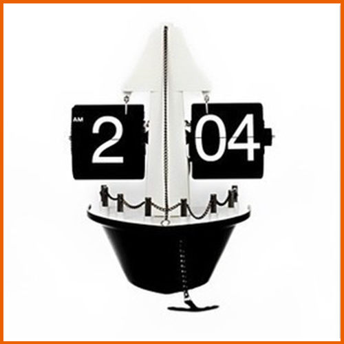 Love Shop自動帆船翻頁鐘復古鐘輪船座鐘海盜船造型擺鐘禮品自動翻頁鐘