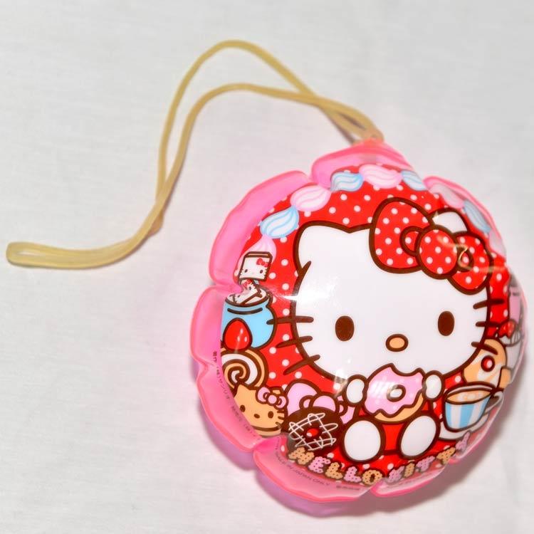 Hello Kitty PVC 充氣小球 吊飾 附橡皮筋 日本正版