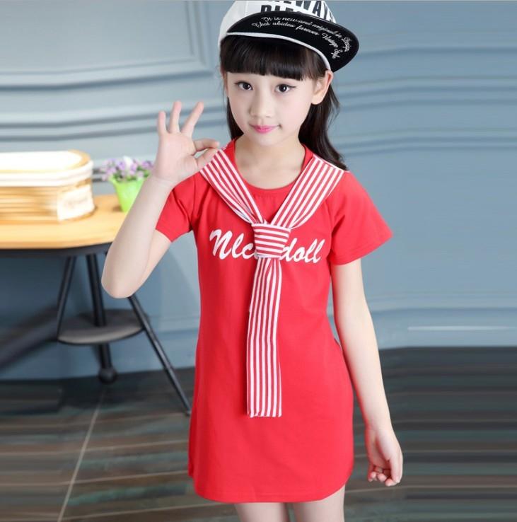 衣童趣韓版夏季中大女童水手服長版上衣甜美休閒可當洋裝暢銷熱賣款現貨