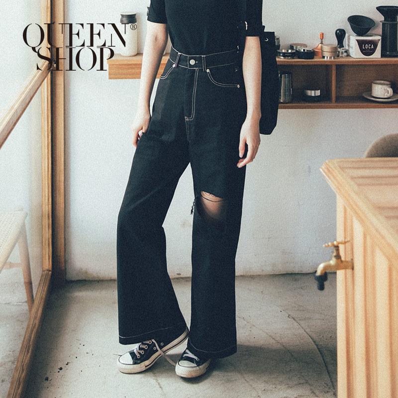 Queen Shop【04110235 】素色破洞造型休閒寬褲 兩色售 S/M/L/XL*現+預*