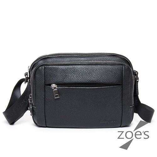 Zoe s頂級牛皮荔枝紋運動斜背包紳士黑